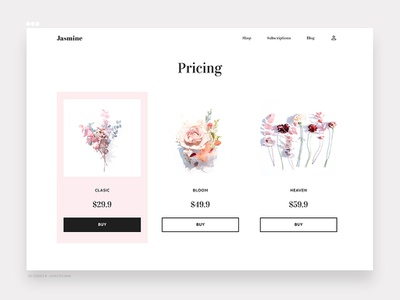 030/100 daily ui challenge - pricing page flowers arabian bloom bouquet subscription shop pricing roses website freelance designer web design vector logo flat ux clean simple 100 daily ui ui