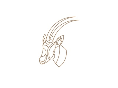 Arabian oryx with African abstract vibes - logos for sale animal logos wood lineart abstract logo horns oryx arabian gazelle logo for sale freelance designer icon branding illustration vector flat simple clean logo design
