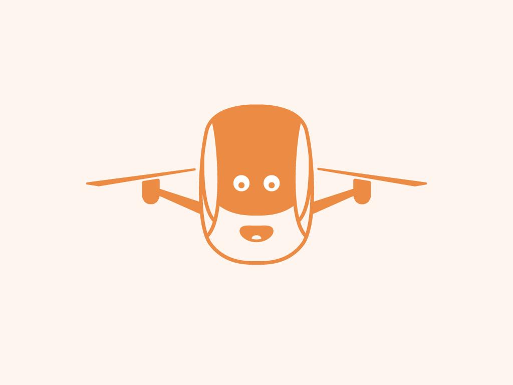 Cool drone camera logo for sale mascot logos for sale cartoony face orange fun drone logo illustration vector icon branding flat logo simple clean design
