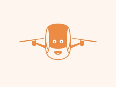 Cool drone camera logo for sale mascot logos for sale cartoony face orange fun drone logo illustration vector icon branding flat logo simple clean design