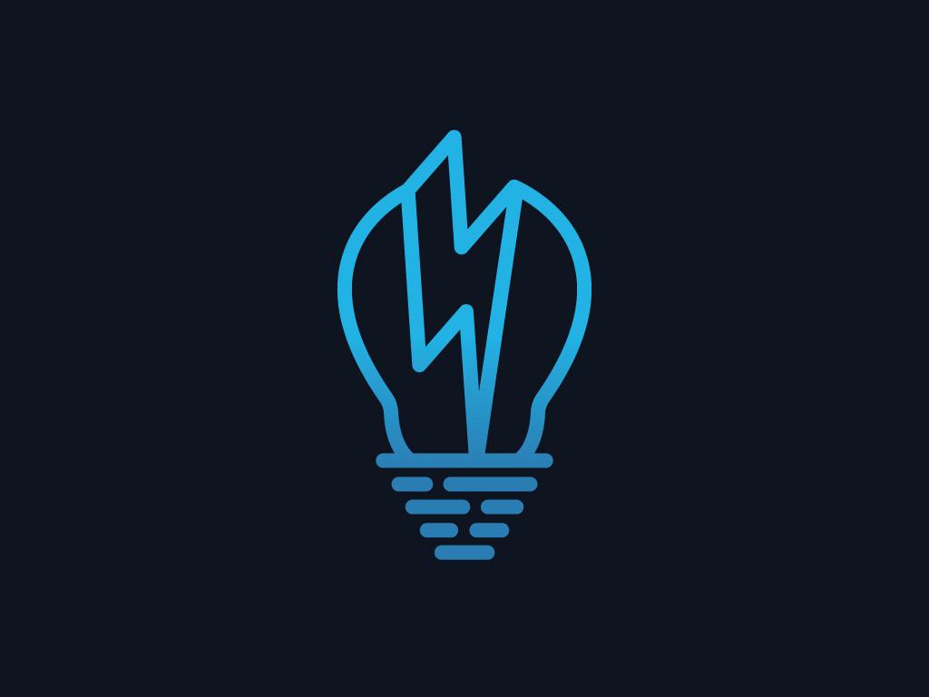 Blue light Bulb logo icon illustration electricity power energy shiny simple modern flat vector logos for sale.logo creator logo designer logo maker freelance designer