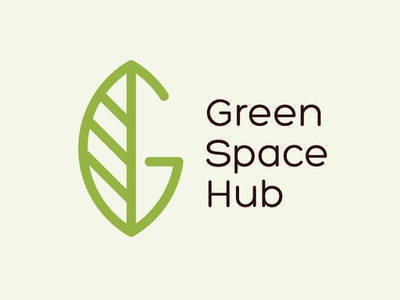Green Space Hub logo branding icon clean design vector simple flat unique leaves nature environment g letter character logo modern calmn logo green leaf space logo logo creator logo maker