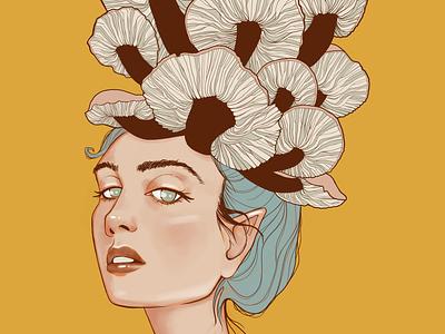 Mushroom Girl Illustration plants mushrooms botanical art portrait illustration portrait art digital painting character design painting illustration drawing digitalpainting digital illustration digitalart