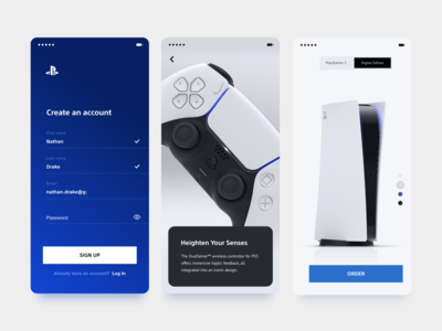 playstation 5 concept xandovoit voit xando blue white ui simple minimal clean app mobile playstation5 playstation sony ps5