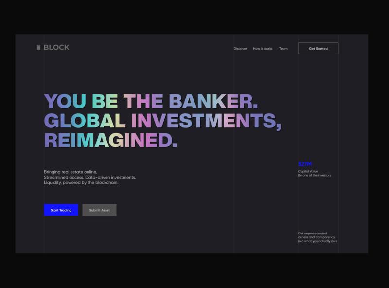 Block voit xandovoit ui landing simple realestate minimal investment gradient dark cryptocurrency crypto clean blue black