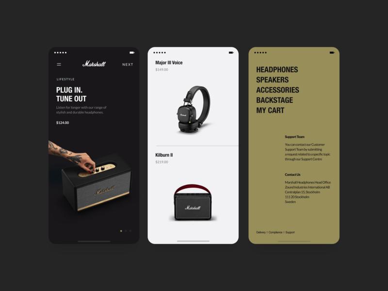 Mobile Shop product page dark mobile app xandovoit voit ux simple minimal ui marshall