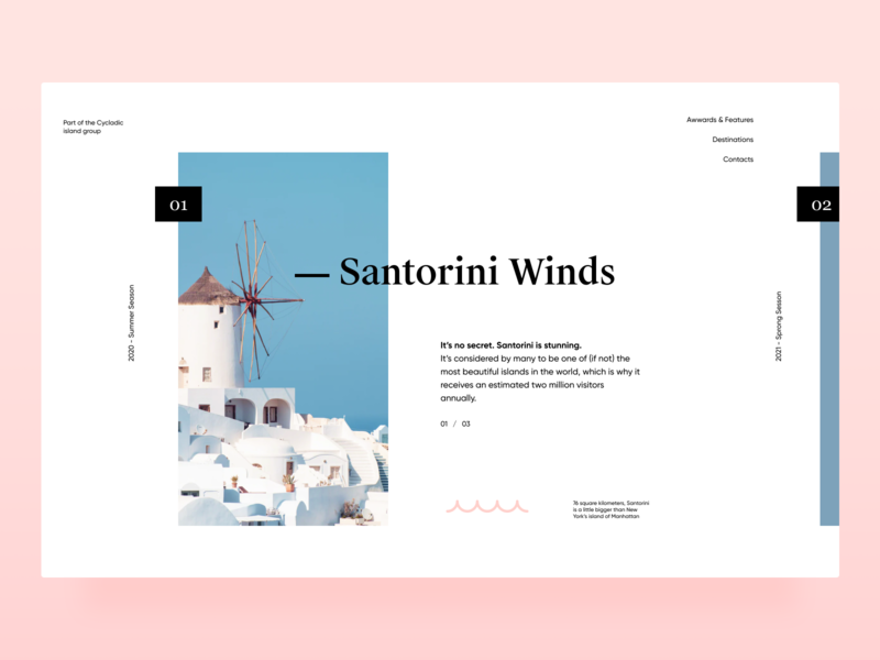 Santorini design free space travel grid pink santorini xandovoit voit minimal clean simple ui