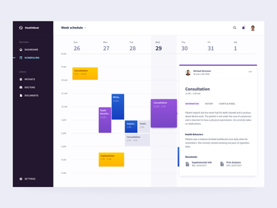 healthbeat health care health ui dashboard brandnew calendar