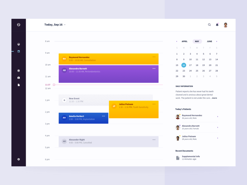 healthbeat, day view doctor doctor app doc patient day view day app ux design ui health care health dashboard calendar brandnew