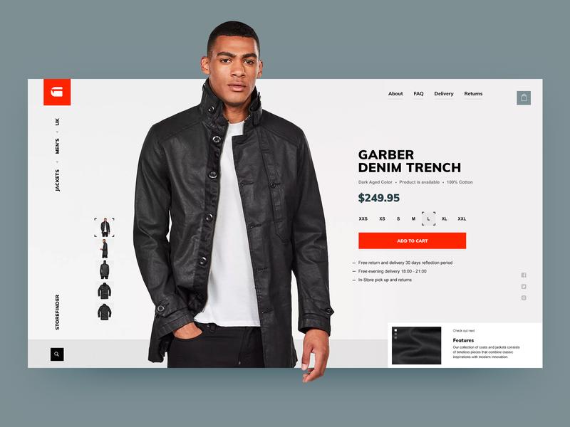 G-Star concept interface add to cart web shopping item black  white trench grey ui fashion shop g-star ecommerce brandnew