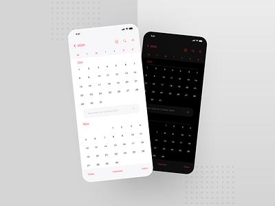 iOS Calendar Redesign minimal ux ui interface redesign app product design clean dark light adobe xd app design design flat mobile