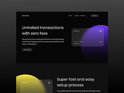 Nexocon : Fintech Website interface design web web design website finance fintech dark ui dark clean product design design ux ui minimal