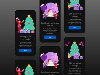Holiday-App Onboarding Dark-theme clean onboarding screens onboarding adobe photoshop adobe xd app walkthrough product design design ux ui minimal