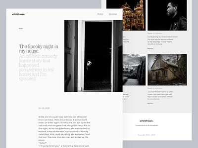 Unfolhouse : Website Design blog website blog design blog websites horror haunted paranormal light web website clean product design design ux ui minimal
