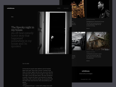 Unfoldhouse : Website Design Dark Theme painting blog website blog website design web website horror haunted paranormal clean product design design ux ui minimal