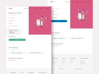 Carehood - Register and Login Page healthcare webdesign website responsive login health clean product design design ux ui minimal