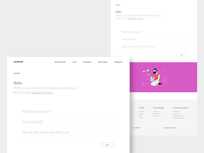Carehood : Contact page webapp responsive website design web design website care healthcare health user interface clean product design design ux ui minimal