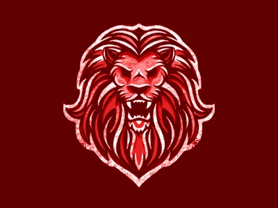 Red Lion roaring king male lion lion head illustrative detailed logo complex logo drawing illustration competitive angry lions mane texture brushes grunge texture pride growl roar lion