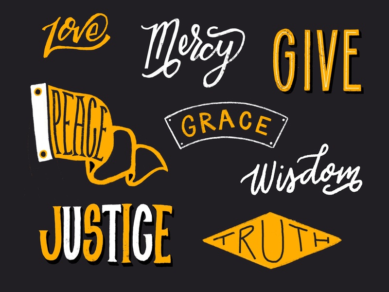 Words to Ponder texture love type type typography logotype words of wisdom grace truth justice give back give peace mercy love hand lettering lettering encouragement inspire words ponder