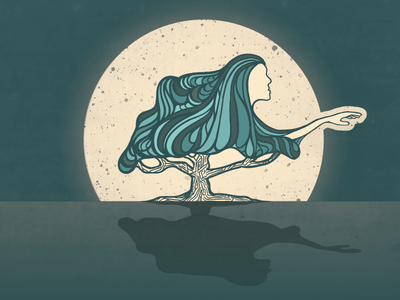 Woman in the Tree (vector)