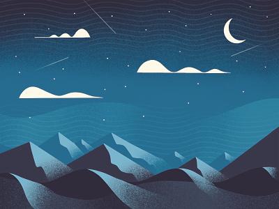 Textured Landscape 3 illustration series environment landscape shadow shading shade moonlight moon mountain mountains apple pencil ipad pro procreate grainy grain texture textured