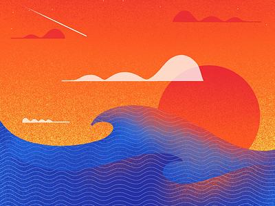 Waves environment landscape ipad pro wavy oceans layers apple pencil procreate brush grainy grain textures textured waves ocean
