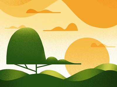Rollling Hills grain haze sun sky clouds rolling hills hills ipad ipadpro digital texture brushes textured print poster series environment procreate landscape tree texture