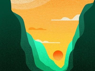 Sight Line procreate brushes procreate grainy noise grain shadows mountains mountain cliff illustration series sightseeing sunset sun view views cliffs horizon line sight