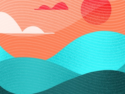 Wavy Waves brush procreate gradient textured texture landscape series crop sunset sun clouds linework lines sea ocean color scheme weird wonky waves wavy