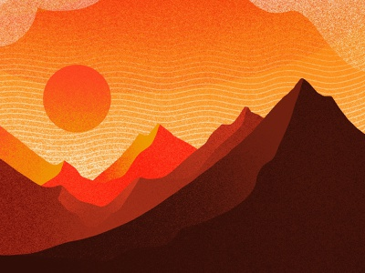 Mountain Range ridge cliff sunset gradient noise texture textured procreate brushes procreate moon sun clouds haze environment landscape horizon scenery views mountains range