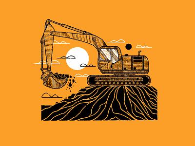Dig building build illustration procreate construction landscape texture digital ink digital inktober inktober 2020 inktober2020 inktober print series series equipment excavator dirt digging dig digital