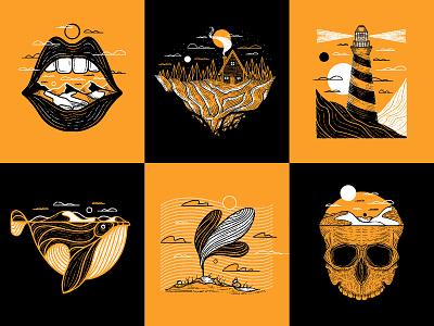 Inktober Favorites whale skull textured environment drawing illustration texture linework line digital inking inking digital inktober procreate landscape landscapes print series series inktober 2020 inktober2020 inktober