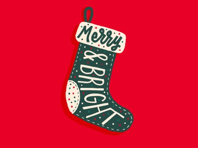 Merry & Bright merrychristmas christmas stocking holiday stocking stocking merry christmas christmas typography christmas type typography type digital lettering textures subtle texture texture brush procreate texture procreate lettering christmas lettering holiday lettering holiday bright merry