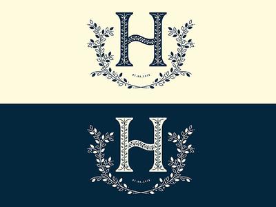 Round 2 floral h letter h h h logo wedding logo wedding design wedding