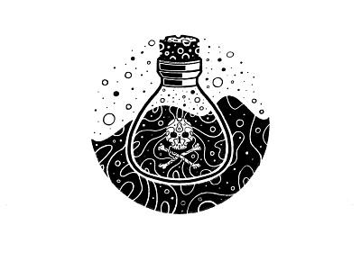 POISON bubbles cork skull bottle magic spell potion poison