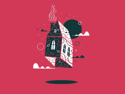 Floating 5 illustration illo series home house clouds sky floats floating float