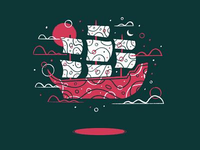 Floating 8 sky night cloud sea sail ship floats float floating