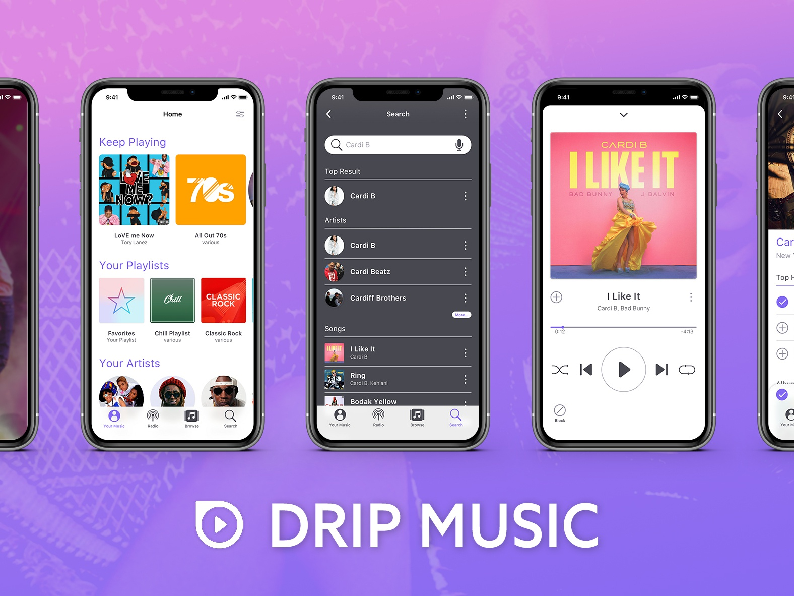 Drip music app display