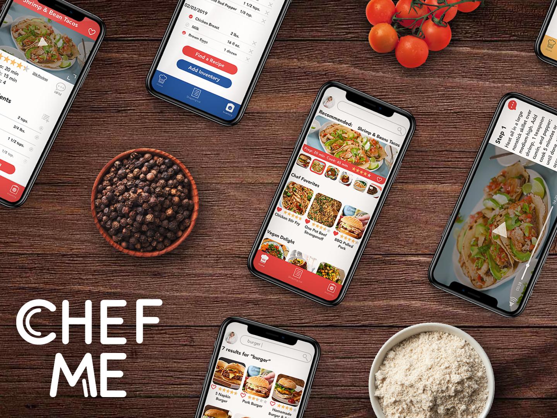 CHEF ME Recipe App mock ad concept breakpoints mobile design recipe app app design