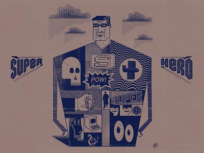 Super Hero lineart textures patterns superhero branding design gritty drawing hand-done type vector custom type illustration