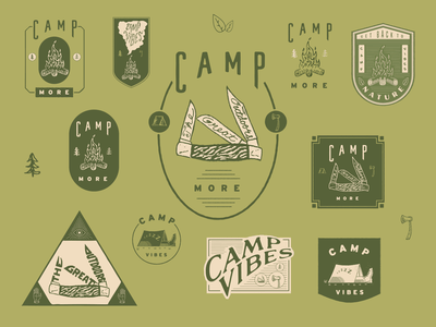 Camp Vibes t-shirt design badge outdoors camping typography grunge logo gritty hand-done type custom type vector design branding illustration
