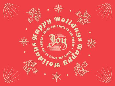 Happy Holidays logo holiday design hand-made type christmas holiday illustration typography hand-done type custom type vector design branding