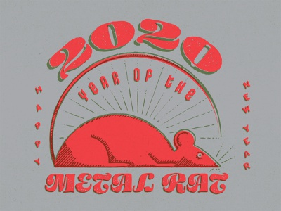 Happy New Year! chinese new year rat new year drawing typography gritty logo hand-done type custom type branding illustration