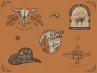 SulphurSpringsMerc burro mule cow skull brand for sale camp supplies retail mercantile desert soutwest cowboy western typography hand-done type gritty vector logo design custom type branding illustration