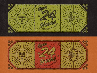 Open 24 Hours lineart moon sun badgedesign sign hand-done type typography design gritty logo branding custom type illustration
