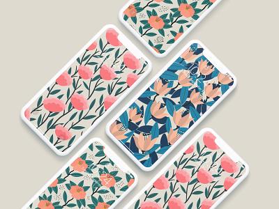 Free Wallpaper iphonex pattern illustration flowers illustration plants flowers pattern design pattern wallpapers wallpaper illustration design