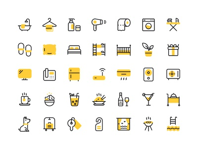 Hotel amenities icon set icon design vacation illustration sketchapp amenities hotel icon set iconography icons