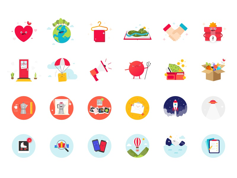 Gratix illustrations characters design gamification gifts characters sketchapp gratix app illustration set illustration