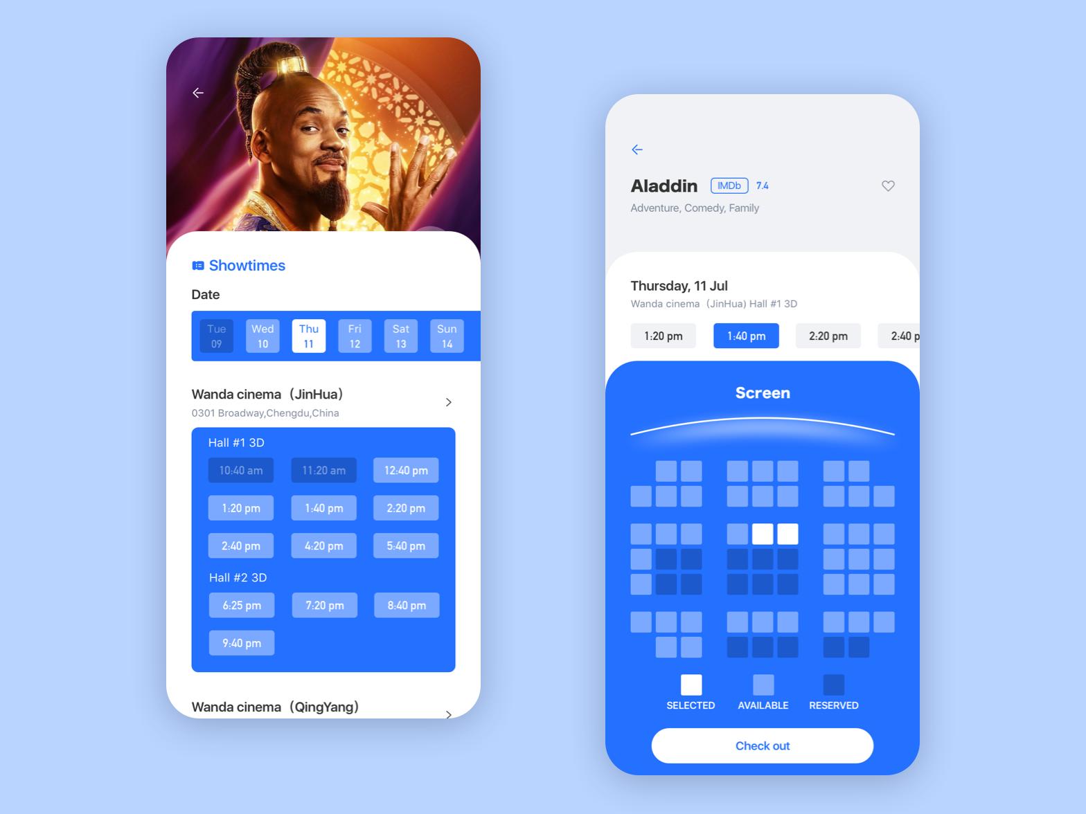 Movies 2 date cinema sets ux sketch app 2019 icon color training design ui