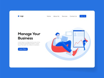 Manage Your Business Landing Page Template web template design vector illustration online business ux ui landingpage business management